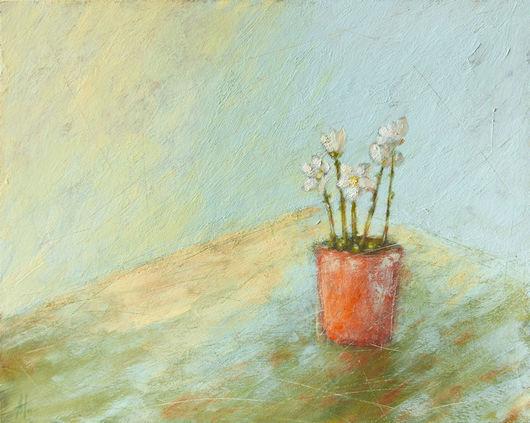 Картины цветов ручной работы. Ярмарка Мастеров - ручная работа. Купить Горшочек цветов. Handmade. Голубой, зеленый, цветок, белый