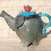 """Посуда ручной работы. Ярмарка Мастеров - ручная работа """"Слон,приглашающий на чаепитие"""".Чайник заварочный.. Handmade."""