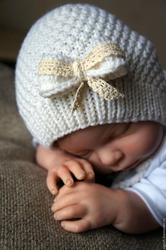 Для новорожденных, ручной работы. Ярмарка Мастеров - ручная работа. Купить Шапочка с бантиком. Handmade. Белый, шапочка вязаная, для малышей