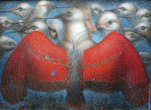 Символизм ручной работы. Ярмарка Мастеров - ручная работа. Купить Живущий в мире птиц. Handmade. Картина в подарок, картина для интерьера