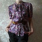 Одежда ручной работы. Ярмарка Мастеров - ручная работа Шелковая блузка с бантом сиреневая. Handmade.