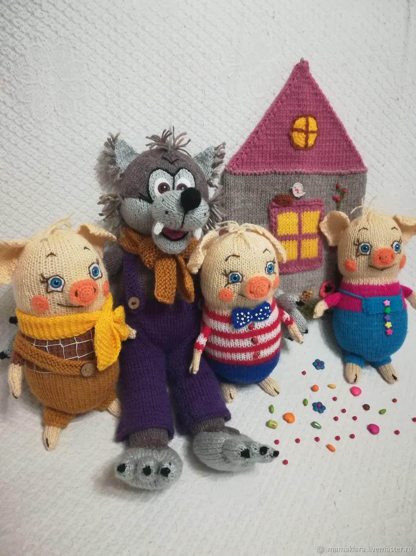 Сказочные персонажи ручной работы. Ярмарка Мастеров - ручная работа. Купить Волк и Три поросенка, вязаные игрушки. Handmade.