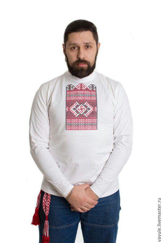 Для мужчин, ручной работы. Ярмарка Мастеров - ручная работа. Купить Футболка мужская с вышитым славянским орнаментом. Handmade. Белый