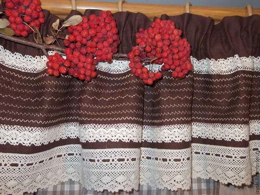 """Текстиль, ковры ручной работы. Ярмарка Мастеров - ручная работа. Купить Шторы льняные с ламбрекеном """"Уют души"""". Handmade. Бежевый"""