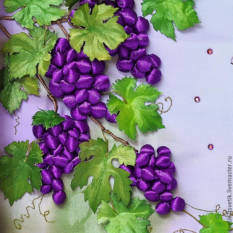 Виноград вышивка лентами