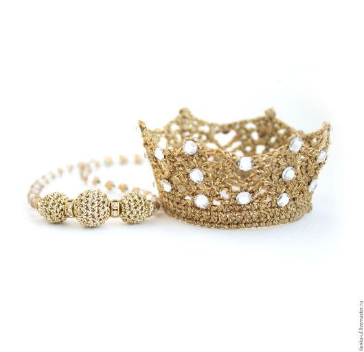 Детская бижутерия ручной работы. Ярмарка Мастеров - ручная работа. Купить Золотое волшебство: корона и ожерелье. Handmade. Корона, золотой