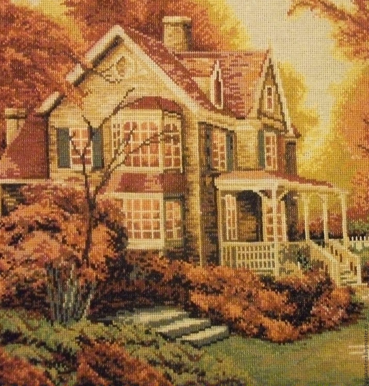 Вышивка пейзажи с домиком