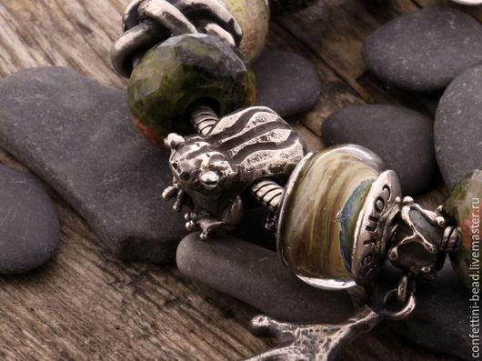"""Браслеты ручной работы. Ярмарка Мастеров - ручная работа. Купить """"Лягушка"""" серебряная бусина для браслетов. Handmade. Серебряный, шарм для браслета"""