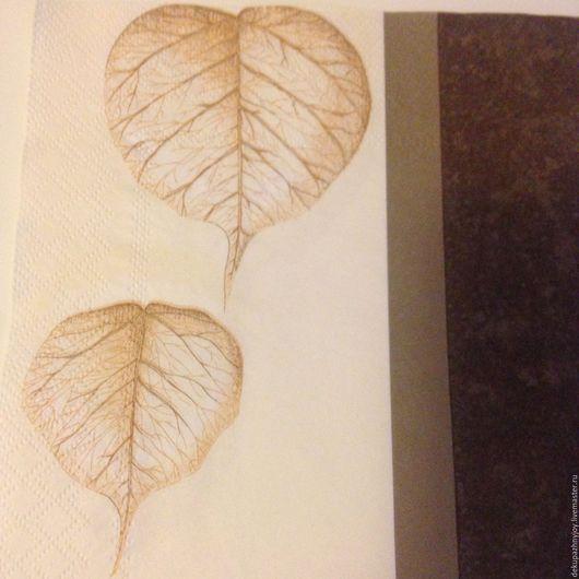 Салфетка для декупажа- Осенние листочки и кофейный фон Декупажная радость