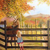 Картины и панно ручной работы. Ярмарка Мастеров - ручная работа Картина маслом Осенний пейзаж с лошадью. Handmade.