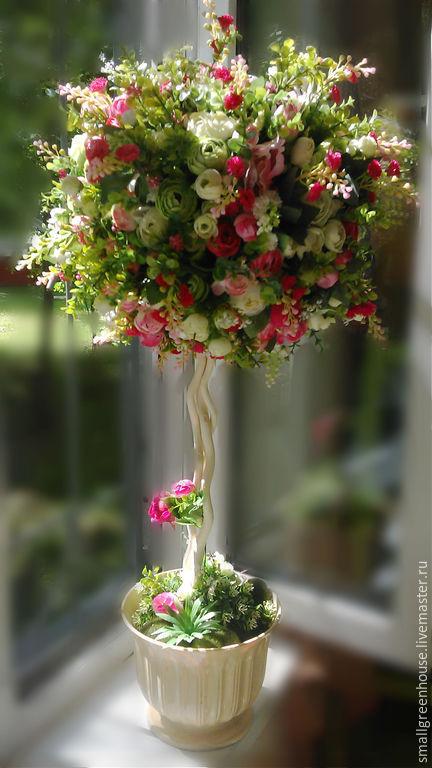 Свадебные цветы ручной работы. Ярмарка Мастеров - ручная работа. Купить Интерьерное дерево большое. Handmade. Бледно-розовый, топиарий
