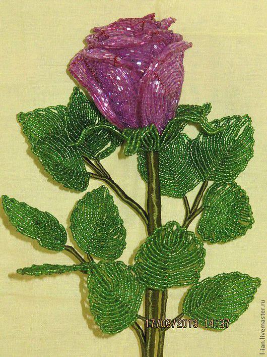 """Цветы ручной работы. Ярмарка Мастеров - ручная работа. Купить Роза  """"Брусничная"""" из бисера. Handmade. Роза из бисера, сиреневый цветок"""