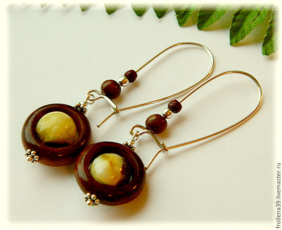 Earrings 'Ball-wheels' white amber silver wood, Earrings, Moscow,  Фото №1
