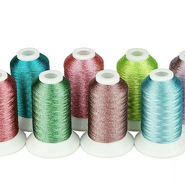 Материалы для творчества ручной работы. Ярмарка Мастеров - ручная работа Нитки для вышивки 8 цветов 500 метров металлик. Handmade.