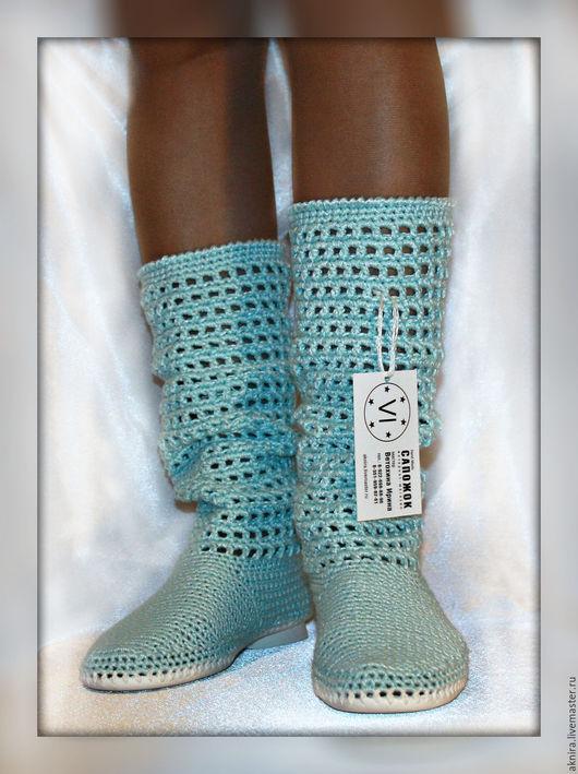 Обувь ручной работы. Ярмарка Мастеров - ручная работа. Купить Сапоги летние, сапоги женские, сапоги вязанные крючком. Handmade.