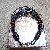 Украшения handmade. Livemaster - original item A leather bracelet and jade. Handmade.