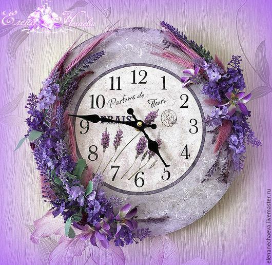 """Часы для дома ручной работы. Ярмарка Мастеров - ручная работа. Купить """"Лаванда"""" Интерьерные часы. Прованс.. Handmade. Сиреневый"""
