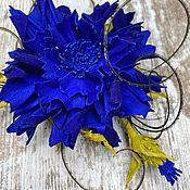 Украшения handmade. Livemaster - original item Cornflower Leather Decoration. brooch made of leather.. Handmade.