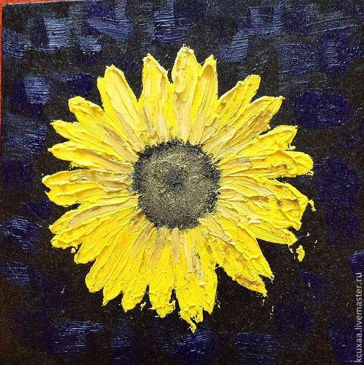 Картины цветов ручной работы. Ярмарка Мастеров - ручная работа. Купить Подсолнух. Handmade. Подсолнухи, подсолнух, картина масло