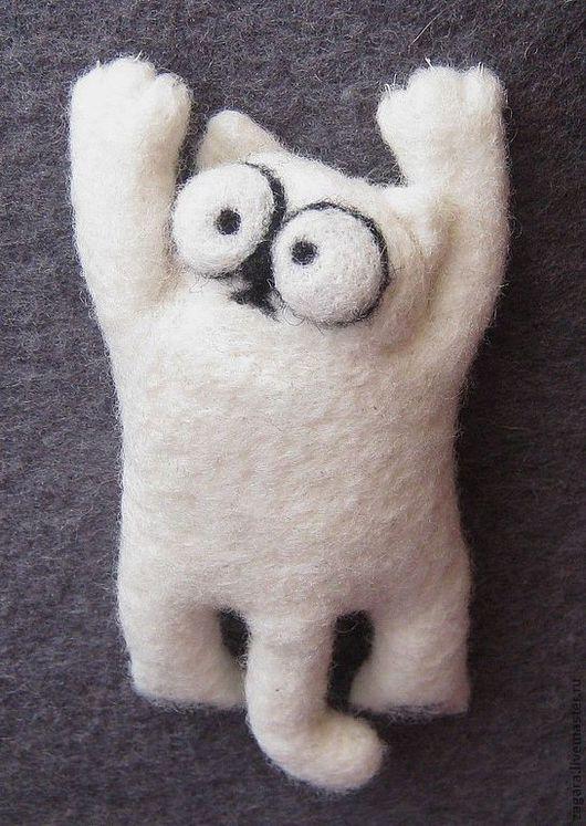 """Броши ручной работы. Ярмарка Мастеров - ручная работа. Купить Валяная брошка """"Кот Саймона"""". Handmade. Кот Саймона, кот"""