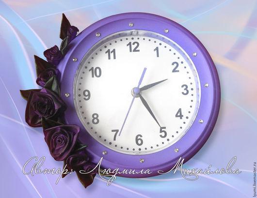 Декор из лент, часы настенные, часы со стразами, часы с розами