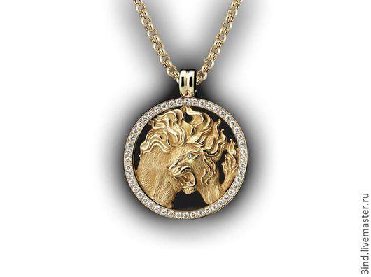 Кулон. Знак зодиака `Лев` из золота 750 пробы. Бриллианты диаметром 2,0 мм. - 1,5ct. Диаметр кулона 40 мм. Возможны варианты изготовления. https://vk.com/3dmodelpro