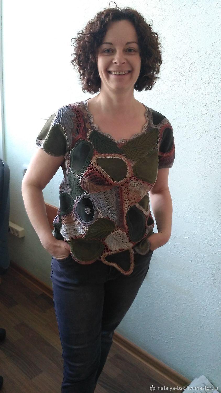 Авторская блуза ирландское кружево из хлопка и замши, Блузки, Омск,  Фото №1