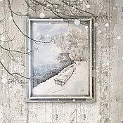 Картины и панно ручной работы. Ярмарка Мастеров - ручная работа картина акварелью Снежный берег (белый, голубой, зимний пейзаж). Handmade.