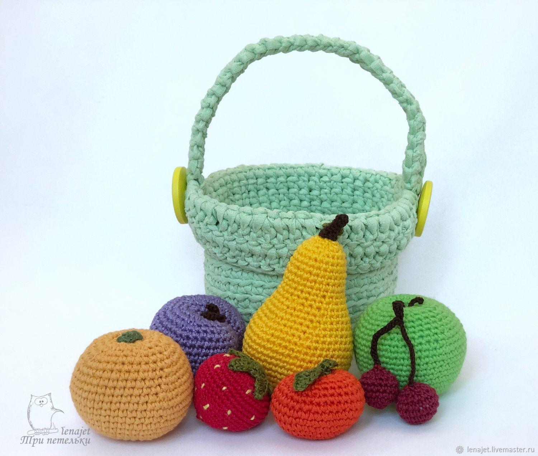 Корзинка с вязаными фруктами и ягодами, Кукольная еда, Москва,  Фото №1