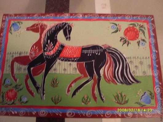 """Мини-комоды ручной работы. Ярмарка Мастеров - ручная работа. Купить мини-комод """"городецкие птицы и кони"""". Handmade. кони"""