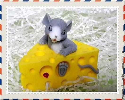 """Материалы для косметики ручной работы. Ярмарка Мастеров - ручная работа. Купить 3D Силиконовая форма для мыла  """"Мышонок в сыре"""". Handmade."""