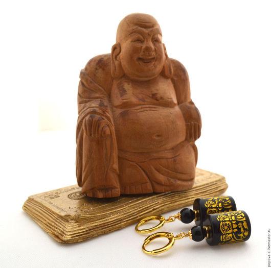 """Серьги ручной работы. Ярмарка Мастеров - ручная работа. Купить Серьги """"Веселый будда"""". Handmade. Черный, серьги с камнями, будда"""