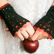 Субкультуры handmade. Livemaster - original item Black lace cuffs Snow white. Handmade.