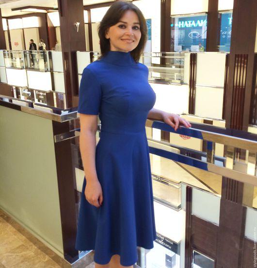 Платья ручной работы. Ярмарка Мастеров - ручная работа. Купить Синее платье повседневное из шелка с хлопком. Handmade. Синий