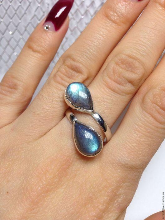 Кольца ручной работы. Ярмарка Мастеров - ручная работа. Купить Серебряное кольцо с лабрадором. Handmade. Морская волна, кольцо серебряное