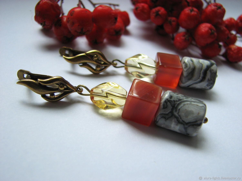 Earrings carnelian, Jasper, crystal 'Magic', Earrings, Moscow,  Фото №1