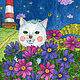 Детская ручной работы. Принт Романтичный котик с цветами. Авторская картина для детской. Добрые акварели (yovin). Ярмарка Мастеров. космея
