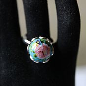 Украшения handmade. Livemaster - original item Ring with Japanese bead tensha the rose rose in the sky. Handmade.