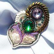 Украшения handmade. Livemaster - original item PEARL RAINBOW.A beaded brooch,pearls, crystals and beads. Handmade.