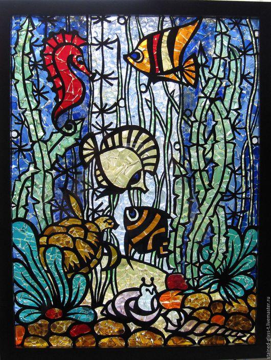 Освещение ручной работы. Ярмарка Мастеров - ручная работа. Купить Витраж из цветного стекла Аквариум. Handmade. Комбинированный, светящиеся в темноте