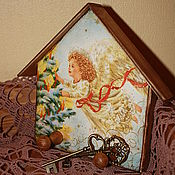 """Для дома и интерьера ручной работы. Ярмарка Мастеров - ручная работа Вешалка-ключница """"Рождественский ангел"""". Handmade."""
