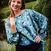 Блузки ручной работы. Ярмарка Мастеров - ручная работа Батик блуза Птица счастья. Handmade.