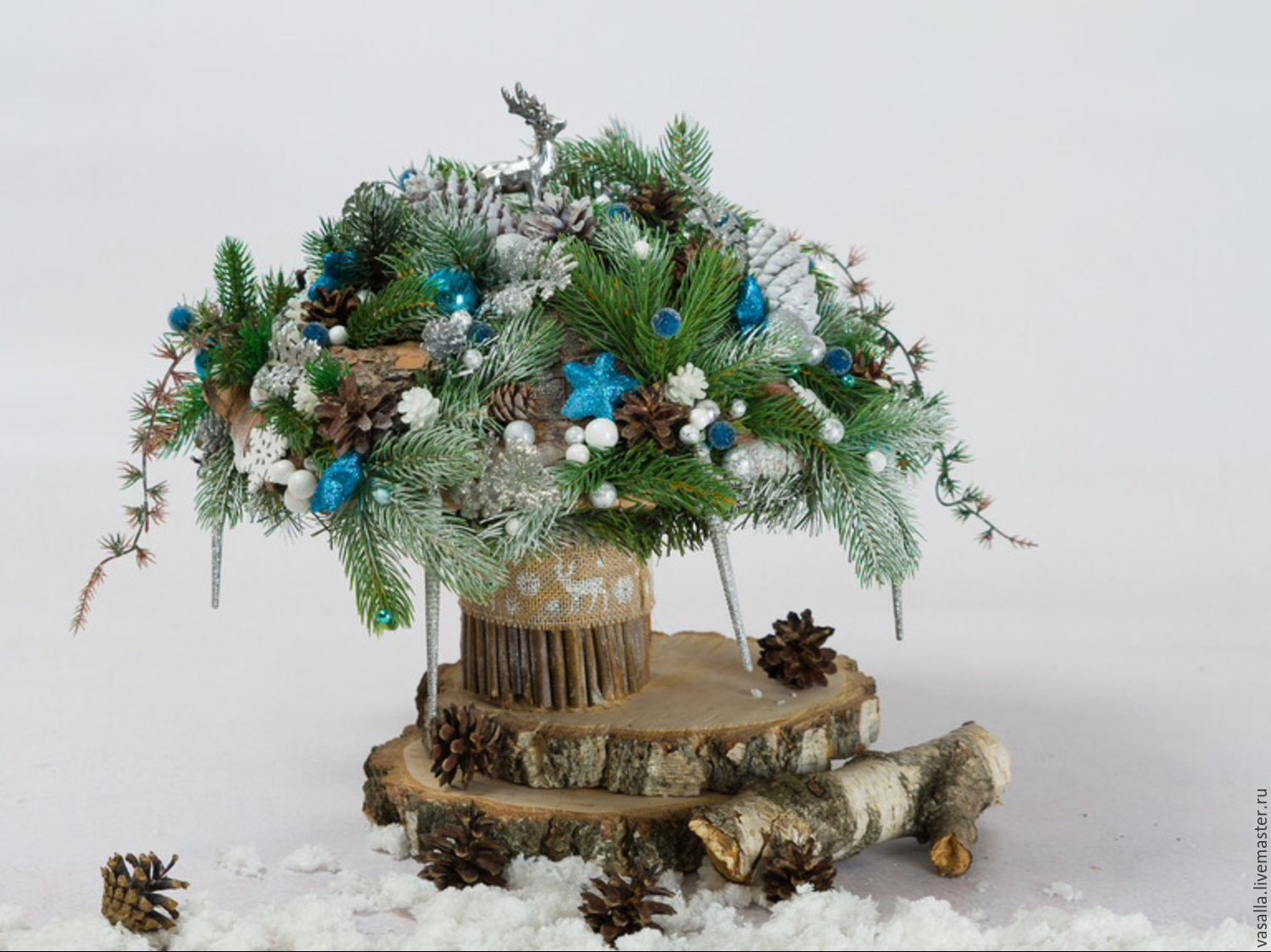 Christmas interior eco-bouquet 'Silver Hoof', Gifts, Moscow, Фото №1