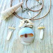Pendants handmade. Livemaster - original item Pendant and earrings Sandy beach at sunset. Handmade.