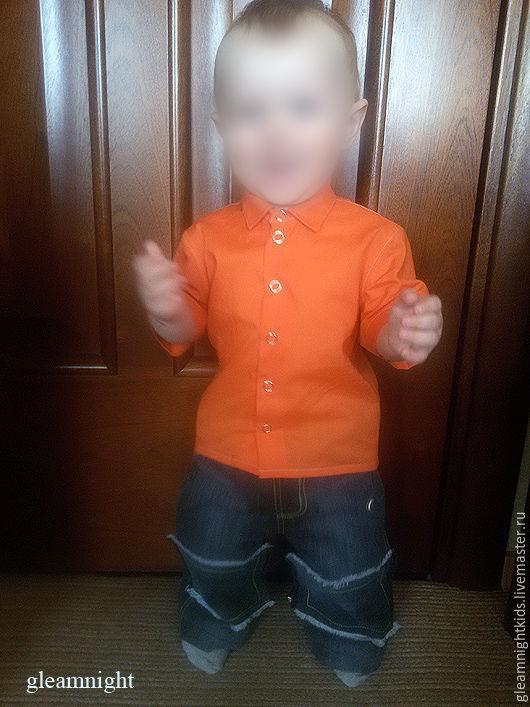 Яркая батистовая рубашка для мальчика