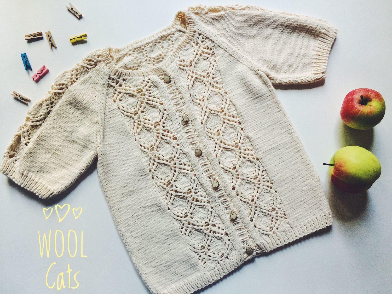 Кофты и свитера ручной работы. Ярмарка Мастеров - ручная работа. Купить Кофта вязаная из хлопка для девочки ажур. Handmade. Кофта