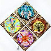 Для дома и интерьера handmade. Livemaster - original item 4 sides of the world, 4 seasons and 4 elements-panel made of tiles. Handmade.