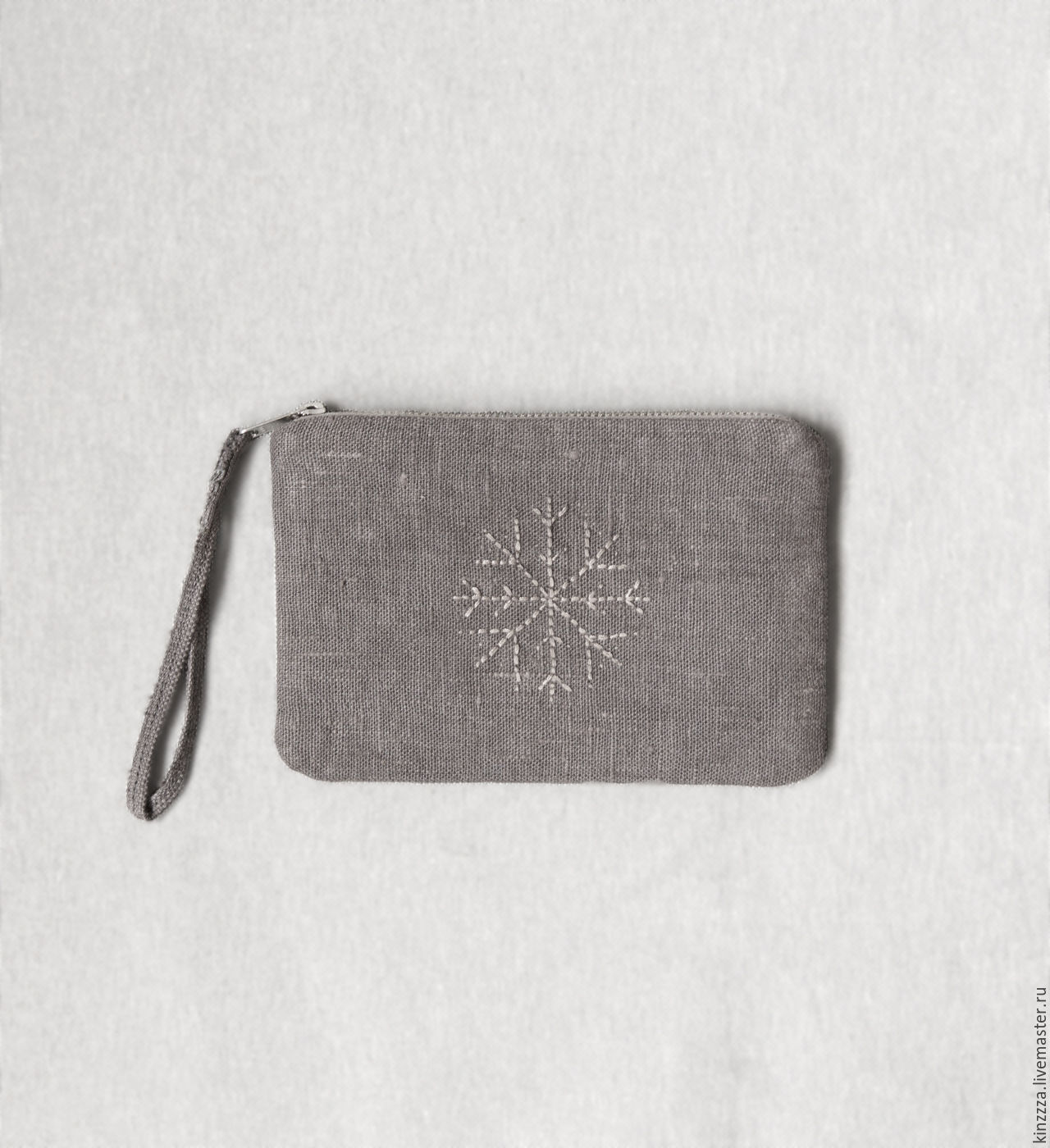 Grey linen small coin pouch purse bag. Hand embroidery, Wallets, Kharkiv,  Фото №1