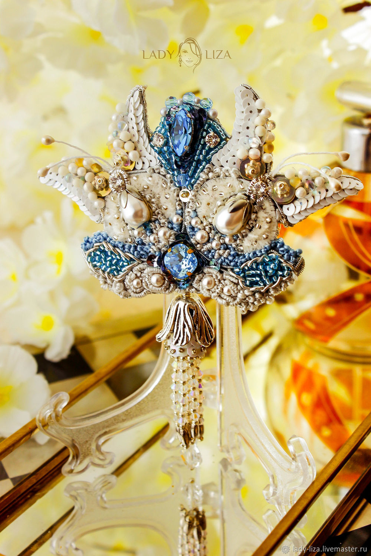 Brooch Romantic breeze. Brooch BUTTERFLY. Brooch beads, Brooches, Zelenokumsk,  Фото №1
