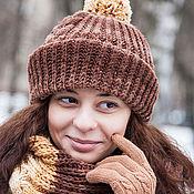 Аксессуары ручной работы. Ярмарка Мастеров - ручная работа Комплект вязаный шапка снуд (кофейный, желтый, коричневый, молочный). Handmade.